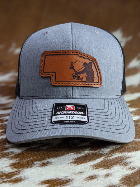 Sate of Nebraska Bowfisherman PATCH Hat - Shirt Guys Bowfishing and Hunting T-Shirts