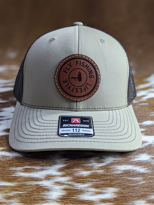 Fly Fishing Lifestyle Leather Patch Hat - Shirt Guys Bowfishing and Hunting T-Shirts
