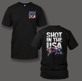 """Shot In the USA"" design printed on White or Black T-shirts. - Shirt Guys Bowfishing and Hunting T-Shirts"