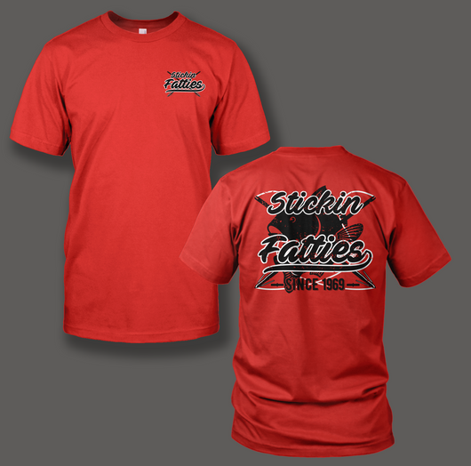 Stickin Fatties Printed on a Red T-Shirt - Shirt Guys Bowfishing and Hunting T-Shirts