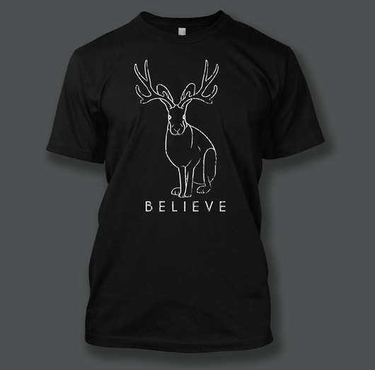 BELIEVE Jackalope - Shirt Guys Bowfishing and Hunting T-Shirts