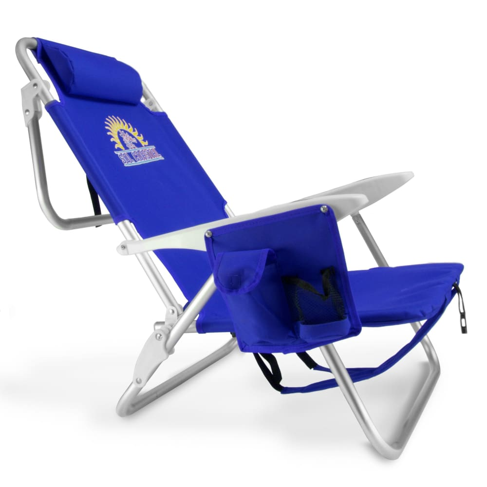 4-Position Folding Beach Chair Blue - Beach Gear