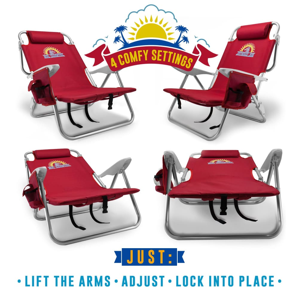 4-Position Folding Beach Chair Red - Beach Gear