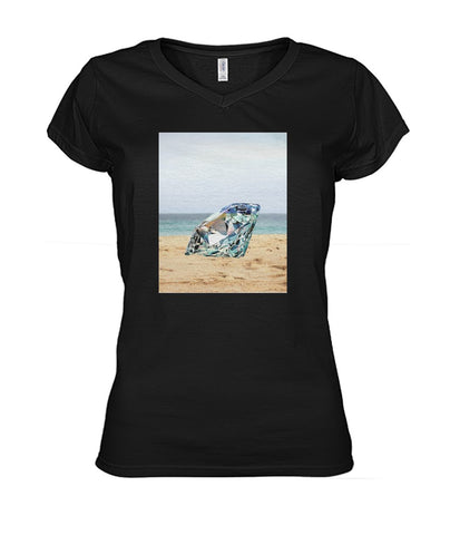 Image of Diamond On The Beach Women's V-Neck Tee