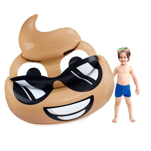 Image of 5.5-foot Dreamy Deuce Poop Emoji Pool Float - Beach Gear