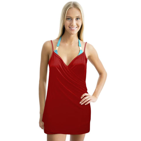 Backless Beach Dress Wrap Red - Beach Gear
