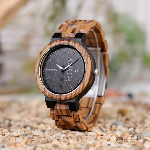 Bobo Bird Antique Wooden Watch with Day & Date - Ebony