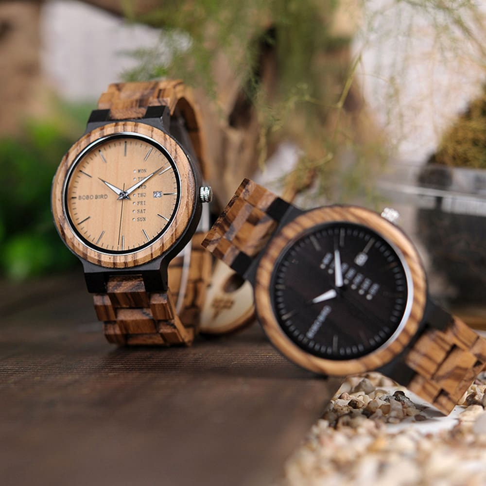 Bobo Bird Antique Wooden Watch with Day & Date
