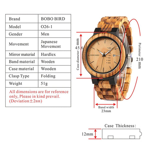 Image of Bobo Bird Antique Wooden Watch with Day & Date