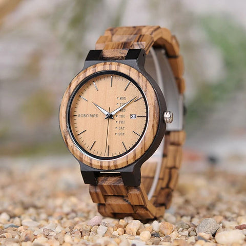 Bobo Bird Antique Wooden Watch with Day & Date - Zebra