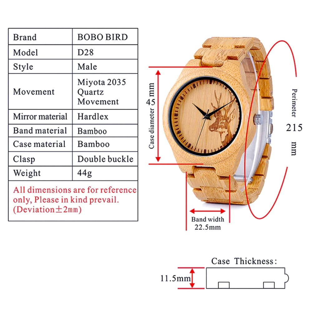 Bobo Bird Bamboo Deerhead Engraved Dial Luxury Watch