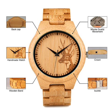 Image of Bobo Bird Bamboo Deerhead Engraved Dial Luxury Watch