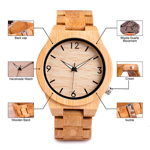 Bobo Bird Bamboo Japaneze Quartz Luxury Watch