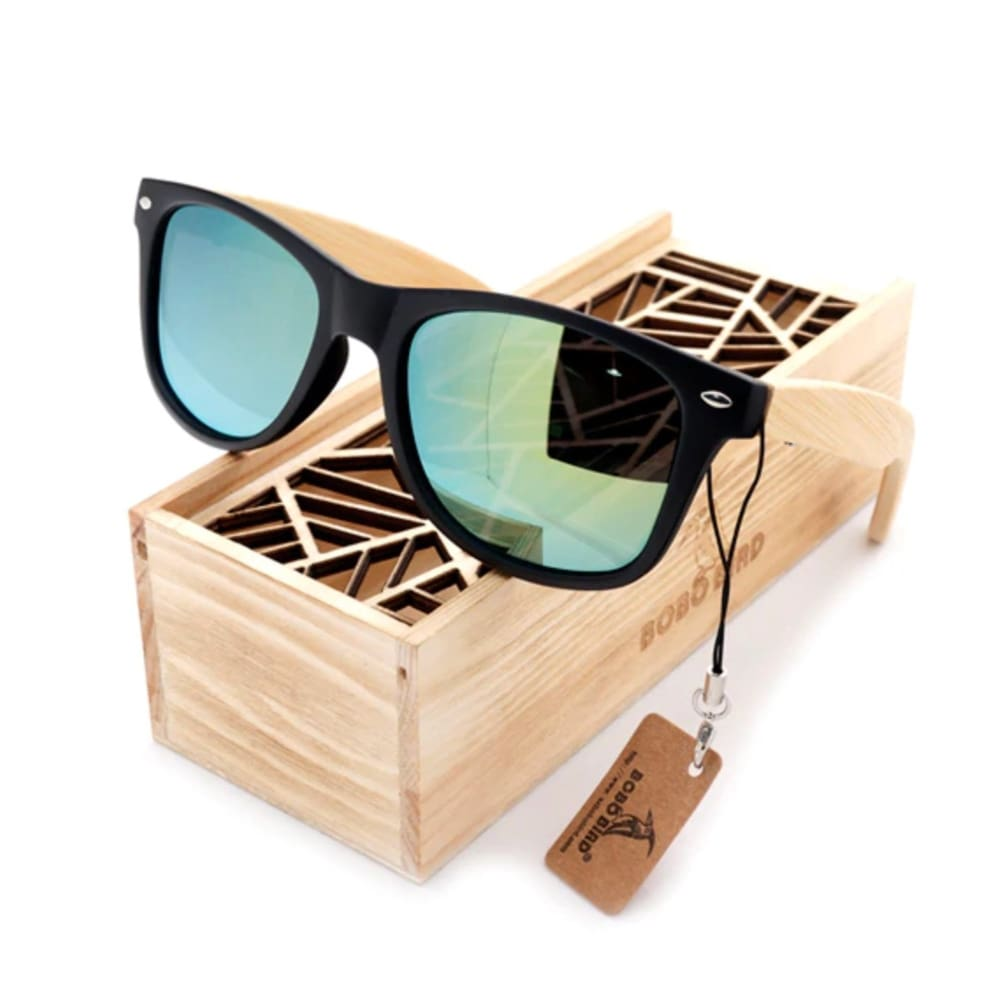 Bobo Bird Bamboo Polarized Sunglasses - Aqua