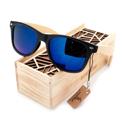 Bobo Bird Bamboo Polarized Sunglasses - Ocean Blue