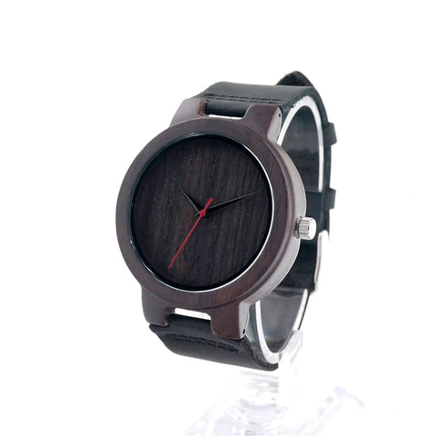 Image of Bobo Bird Black Sandalwood Watch with Leather Band