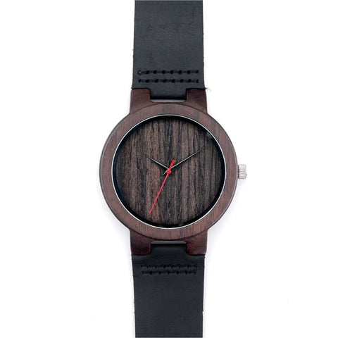 Bobo Bird Black Sandalwood Watch with Leather Band