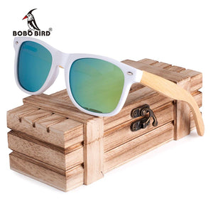 Bobo Bird Luxury Coated Bamboo Polarized Sunglasses - Aqua