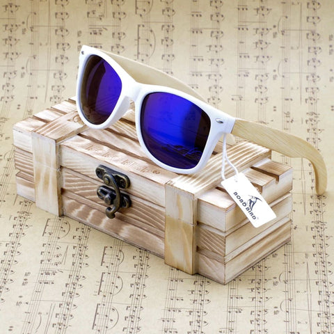 Bobo Bird Luxury Coated Bamboo Polarized Sunglasses - Ocean Blue