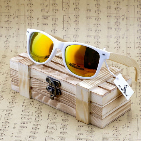 Bobo Bird Luxury Coated Bamboo Polarized Sunglasses - Sunrise