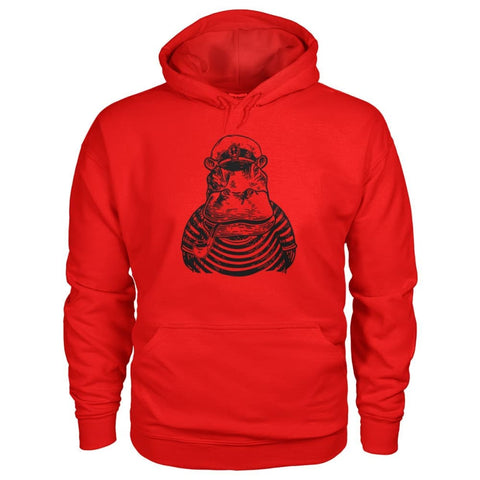 Image of Captain Hippo Hoodie - Red / S - Hoodies