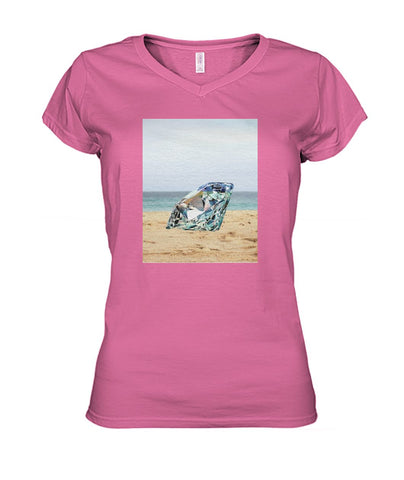 Diamond On The Beach Women's V-Neck Tee