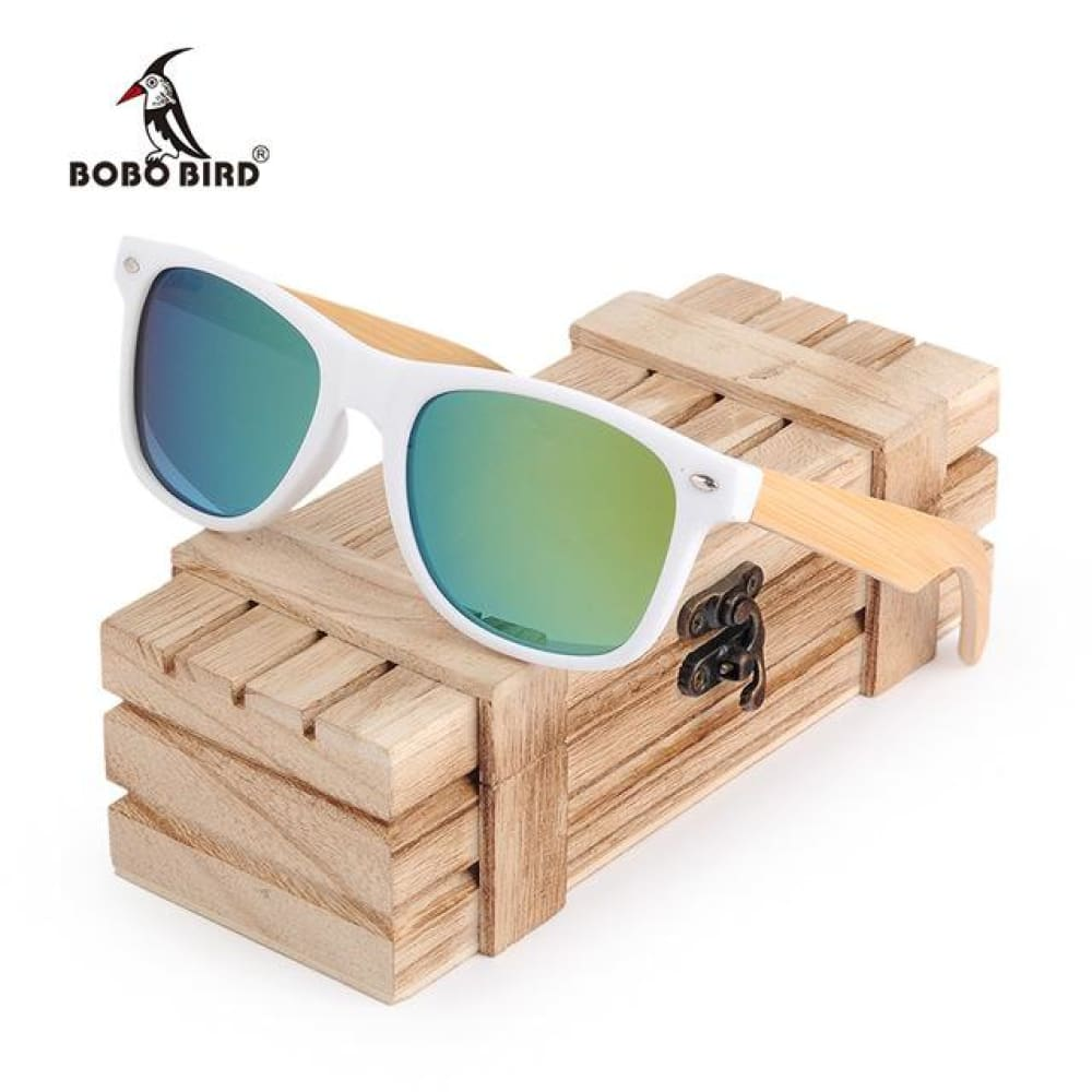 Huntington Wood Sunglasses by Jonny B - Plastic Frames - White and Green - Sunglasses