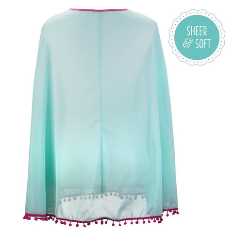 Image of Womens Beach Poncho with Pom-Pom Trim Mint Raspberry - Beach Gear