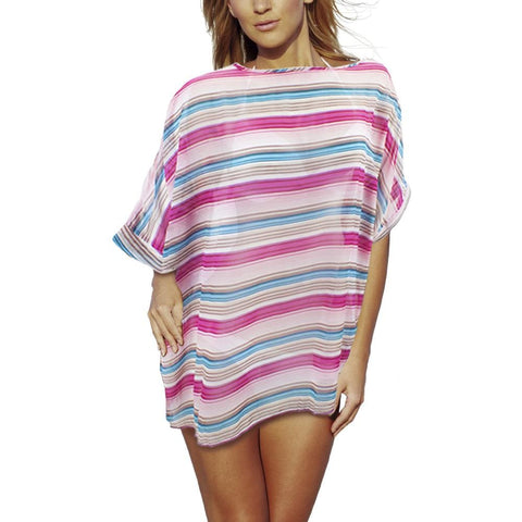 Image of Womens Sleek and Chic Stripped Beach Poncho - Beach Gear