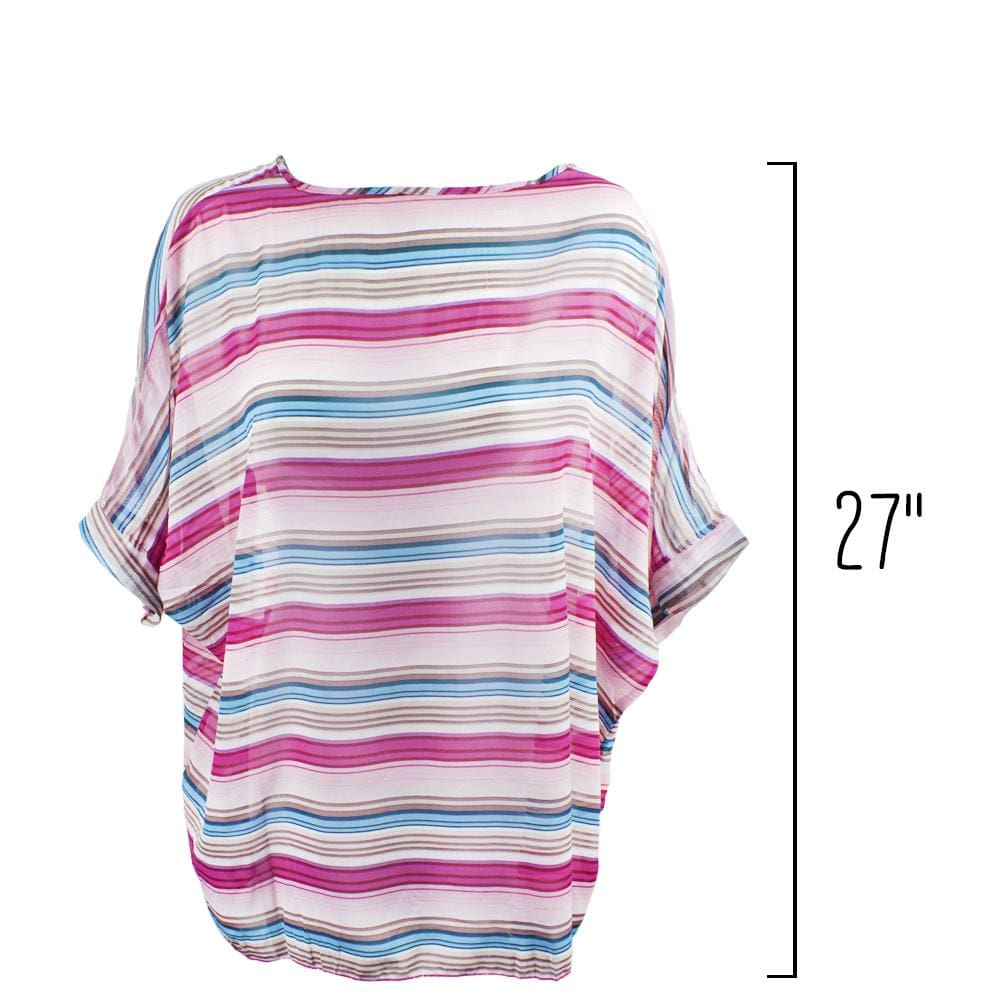 Womens Sleek and Chic Stripped Beach Poncho - Beach Gear
