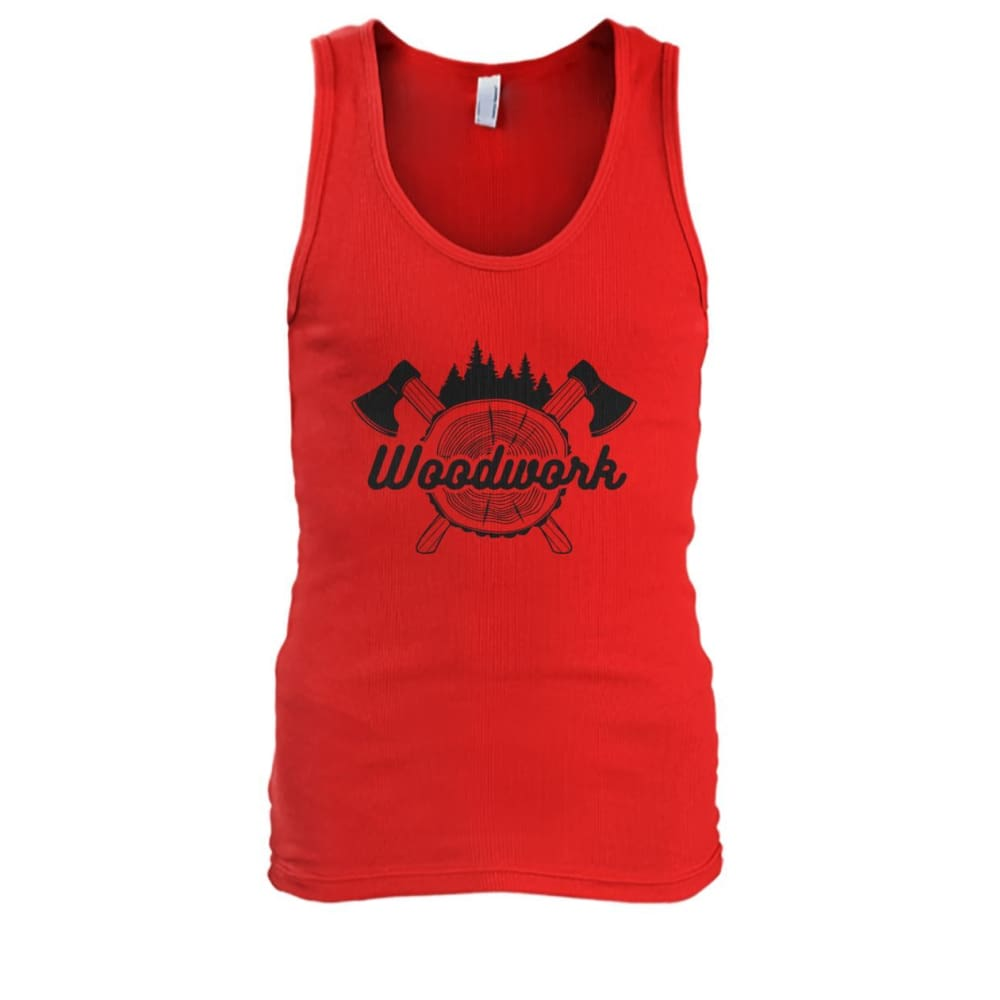 Woodwork Tank - Red / S - Tank Tops