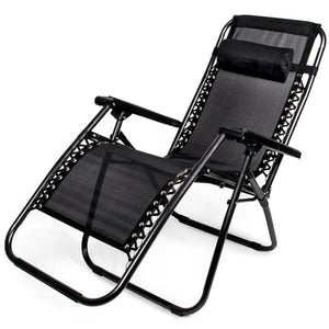 Zero Gravity Folding Lounge Chair Black - Beach Gear