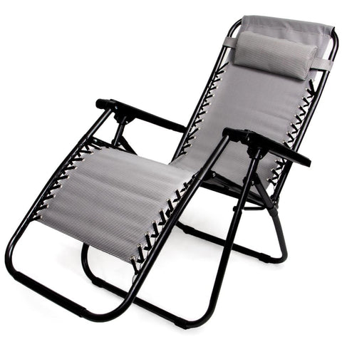 Image of Zero Gravity Folding Lounge Chair Gray - Beach Gear