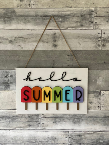 Hello Summer Popsicle Sign