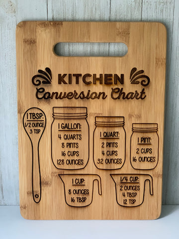 Laser Engraved Kitchen Conversions Cutting Board