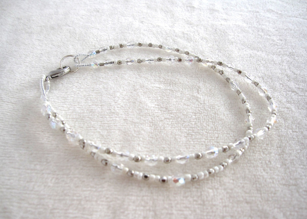 Clear and White Glass Bead Ankle Bracelet-SugarJewlz Handmade Jewelry