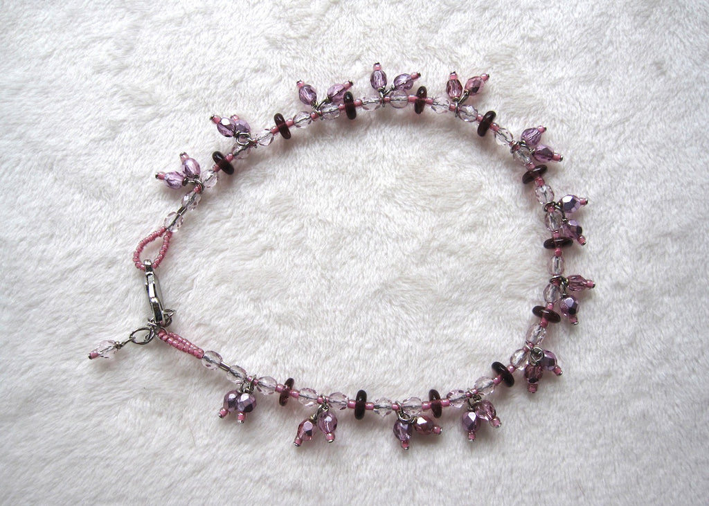 Pink Glass Dangles Ankle Bracelet-SugarJewlz Handmade Jewelry