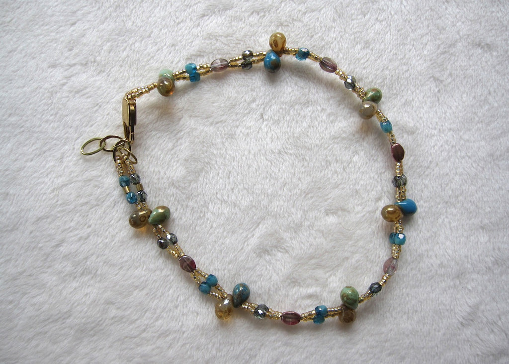 Woven Gold and Blue Ankle Bracelet With Glass Drops-SugarJewlz Handmade Jewelry