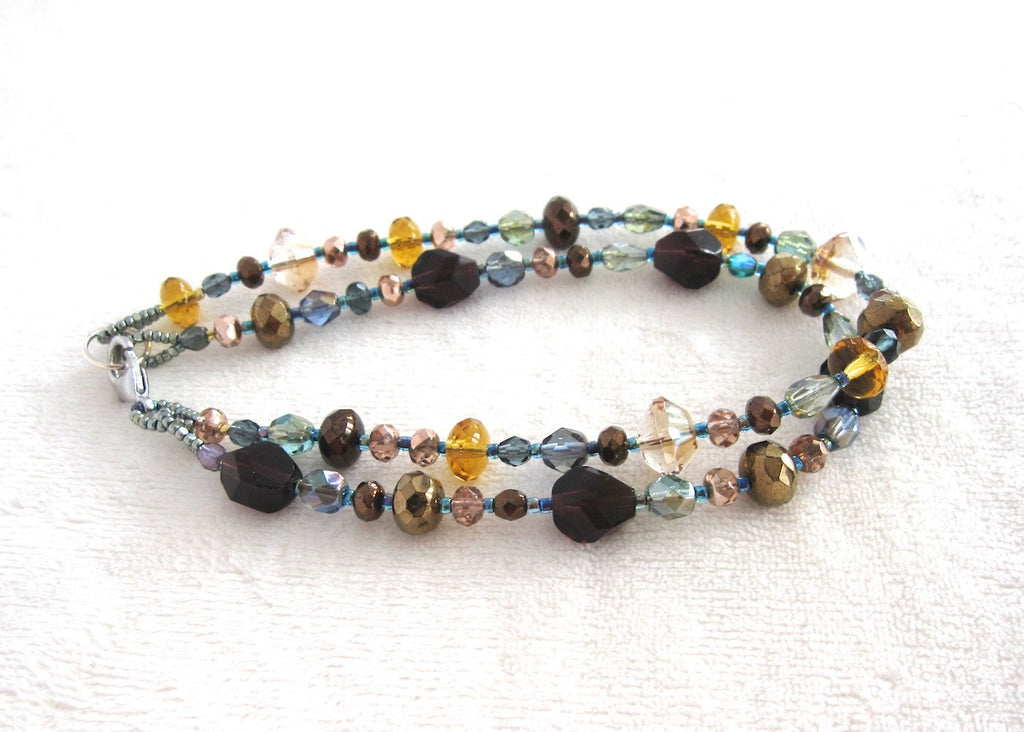 Jewel Tone Double Strand Ankle Bracelet-SugarJewlz Handmade Jewelry
