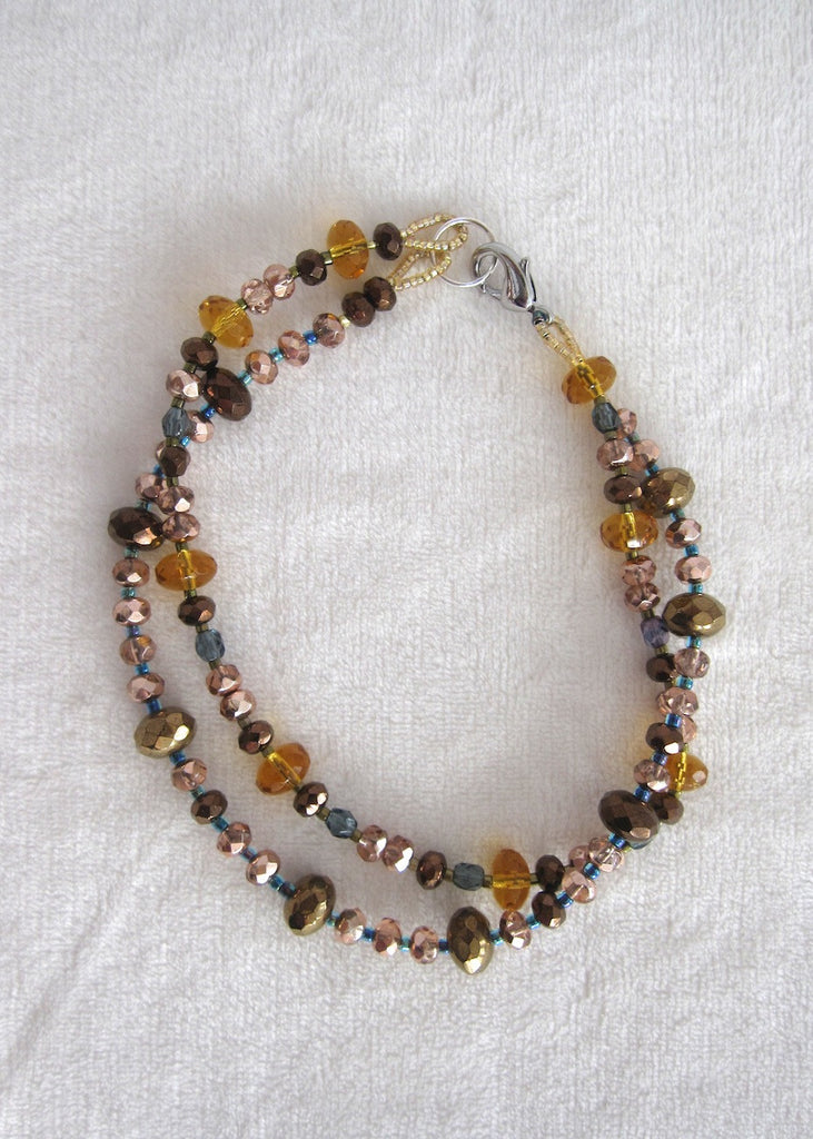 Bronze and Amber Double Strand Ankle Bracelet-SugarJewlz Handmade Jewelry