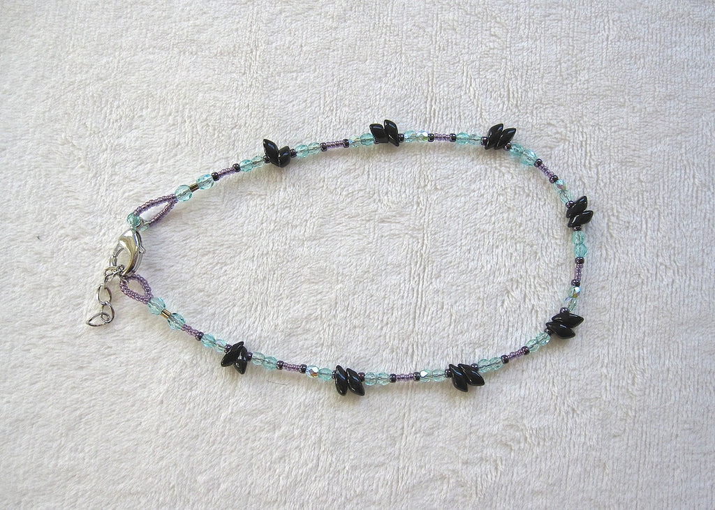 Black, Berry and Turquoise Ankle Bracelet-SugarJewlz Handmade Jewelry