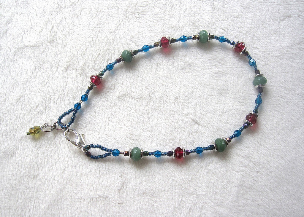 Green and Pink Glass With Metal Discs Ankle Bracelet-SugarJewlz Handmade Jewelry