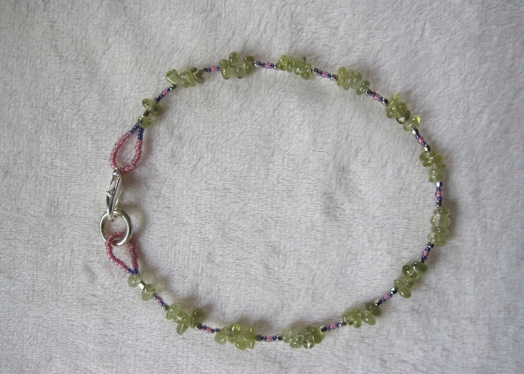 Green Garnet and Glass Ankle Bracelet-SugarJewlz Handmade Jewelry