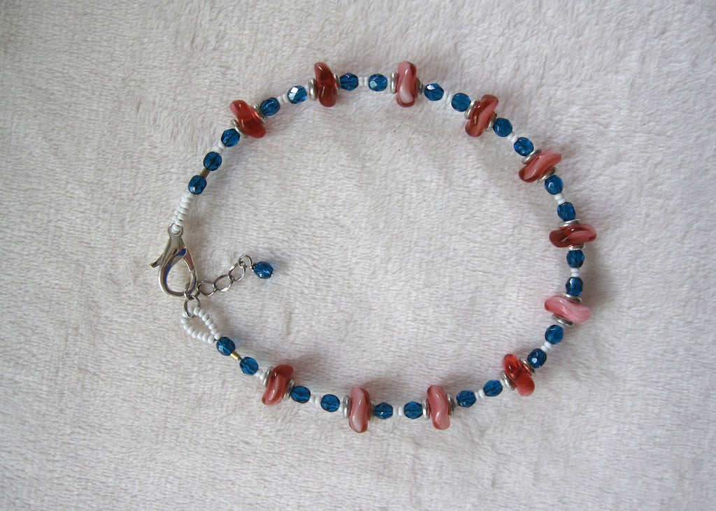 Pink and Colbolt Blue Ankle Bracelet-SugarJewlz Handmade Jewelry