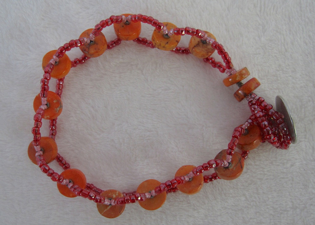 Orange Turquoise Woven Bracelet-SugarJewlz Handmade Jewelry