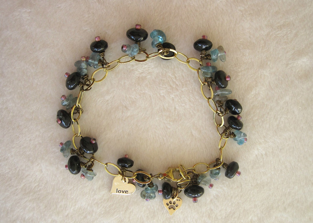 Gemstone and Charms Dangle Bracelet-SugarJewlz Handmade Jewelry