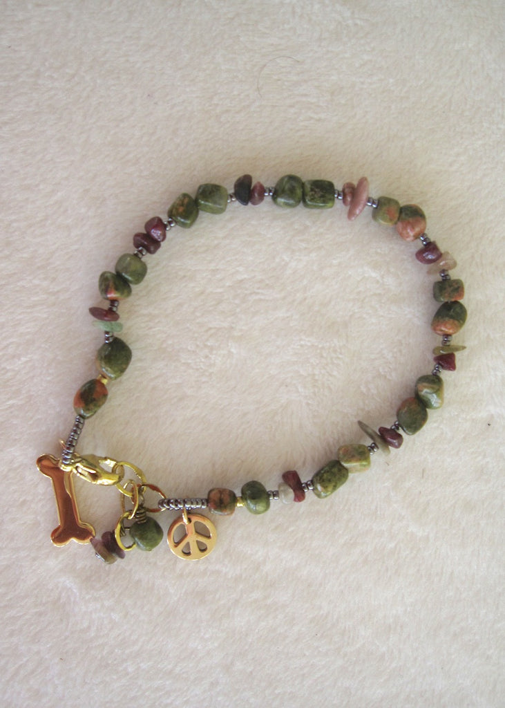 Agate and Tourmaline Charm Bracelet-SugarJewlz Handmade Jewelry