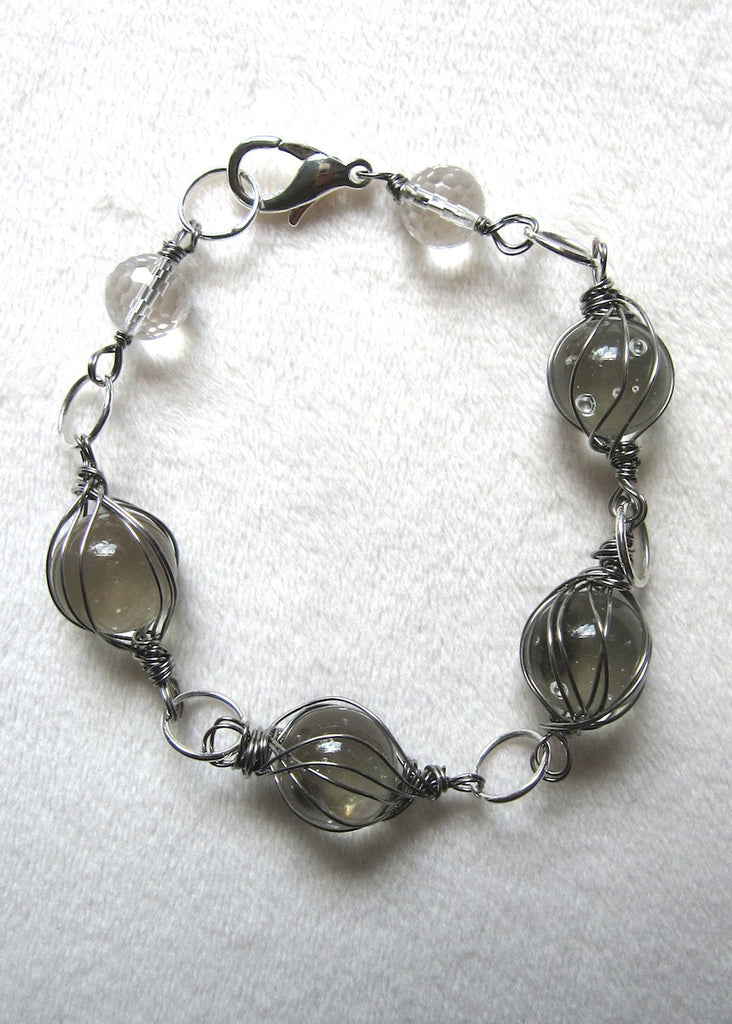 Clear Wrapped Marbles Bracelet-SugarJewlz Handmade Jewelry