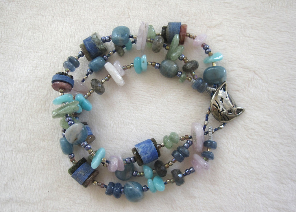 Triple Strand Mixed Gemstone Bracelet-SugarJewlz Handmade Jewelry