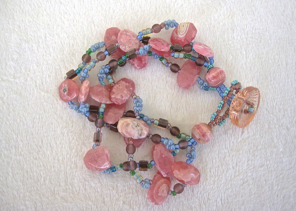 Rodocrosite and Glass Four Strand Bracelet-SugarJewlz Handmade Jewelry